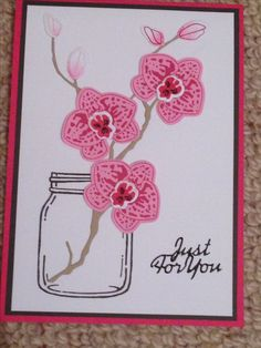 handmade greeting card ... one layer ... orchid branch in a Mason jar ... Stampin' Up!