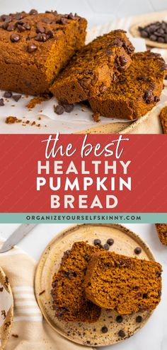 Get ready to make this Healthy Pumpkin Bread recipe all year long – it's that good! Made with white whole wheat flour, coconut sugar, coconut oil, and a handful of chocolate chips. It's wholesome, moist, and delicious! Make a loaf to enjoy with a cup of coffee all week, or freeze ahead for healthy snacks during the month. Organize Yourself Skinny | Healthy Breakfast Recipes | Healthy Fall Recipes | Healthy Freezer Meals Healthy Desserts For Kids, Healthy Sweet Treats, Easy No Bake Desserts, Healthy Dessert Recipes, Healthy Baking, Healthy Snacks, Breakfast Recipes, Healthy Pumpkin Bread, Pumpkin Chocolate Chip Bread