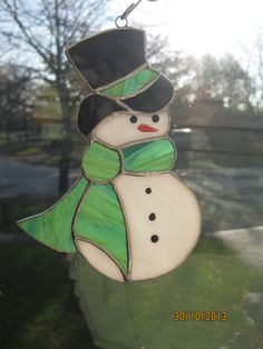 Snowman with Top Hat Sun Catcher or Tree Decoration by CKGlass, $17.99