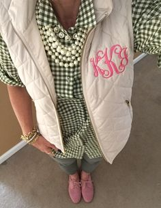 Fashion Over 40:  Monogram Vest via Etsy, J Crew Gingham Shirt, pearls, crystal necklace, Anthropologie jeans, GH Bass Pink Suede Oxfords