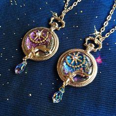 So pretty!- So pretty! So pretty! Kawaii Accessories, Kawaii Jewelry, Cute Jewelry, Jewelry Accessories, Moon Jewelry, Resin Jewelry, Jewelry Crafts, Diy Schmuck, Schmuck Design