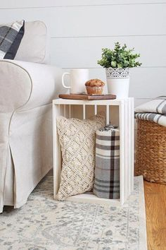 Crate Side Table is part of Diy apartment decor - How to use a wood crate as a side table DIY Crate Side Table A cheap and easy idea for using an unfinished wood crate as living room side tables Diy Home Decor Rustic, Easy Home Decor, Cheap Home Decor, Home Design Diy, Interior Design, Interior Ideas, Design Ideas, Cheap Side Tables, Small Side Tables