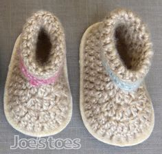 Billie Baby Boots Crochet Kit - with wool felt soles and soft sheen yarn.