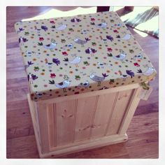 The mini toy box, doubles up as a comfy little seat! emlyncreative.com