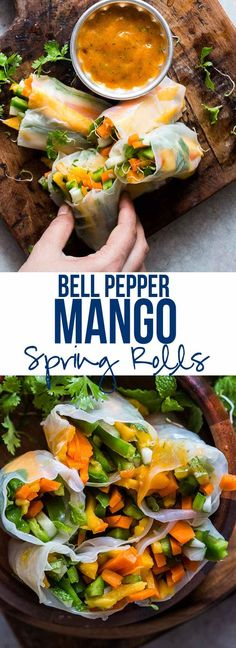 These mango bell pepper rice paper rolls are the perfect summer food - stuffed with lots of fresh veggies and served with an insanely delicious mango cilantro dipping sauce! Naturally gluten free, vegan and low carb!