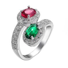 Silver color  Red and Green Zirkon Crystal Ring Jewelry Wedding Rings Size 6 / 7 / 8 / 9/10  Rings Women #Affiliate