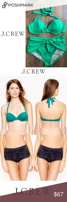 J. Crew Ruched Halter Tie Retro Brief Kelly Green Simple. Sleek. Supportive. This top has it all. Quick-drying J.Crew nylon/spandex. Ties at neck. Back hook. Boning at sides. Underwire. Lightly padded. Lined.  • EUC ONLY WORN ONCE • No flaws • SIZE 36C  A sophisticated take on vintage swimwear, styled with pinup-perfect proportions (the higher rise creates flattering coverage) and topped off with a chic little knot. Nylon/Lycra® spandex. Quick drying. Fade resistant. • EUC ONLY WORN ONCE •…