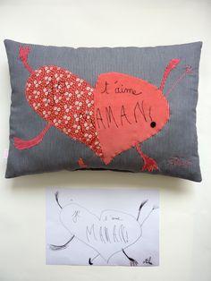 """Création textile Zut! pièce unique Dessin de Alex 6 ans pour l'anniversaire de sa maman !   Un cœur rose """"gros comme ça"""" ! http://www.atelier-zutfrance.com/"""