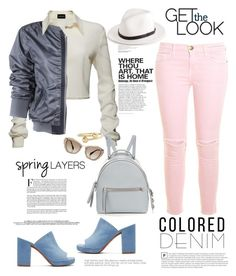 """""""Spring Trend: Colored Denim Style"""" by ellie366 ❤ liked on Polyvore featuring Magda Butrym, J.W. Anderson, Robert Clergerie, rag & bone, Miu Miu, Fendi, Current/Elliott, backpack, mules and whiteblouse"""