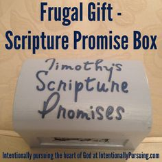 After I read this devotion from Proverbs 31 Ministries, I wanted to create a Scripture Promise Box for my husband as a way to encourage him and remind him who he is in Christ. So for Tim's last birthday I. Homemade Anniversary Gifts, One Year Anniversary Gifts, Anniversary Ideas, Homemade Christmas Gifts, Homemade Gifts, Christmas Ideas, Christmas Time, Christmas Crafts, Mothers Day Scripture