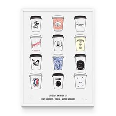 Coffee Cups of New York City print by Knowlita, $100