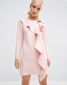 ASOS Long Sleeve Shift Dress With Ruffle Front