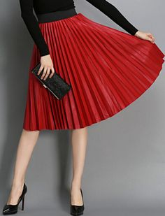 Red High Waist Pleated PU Skirt pictures