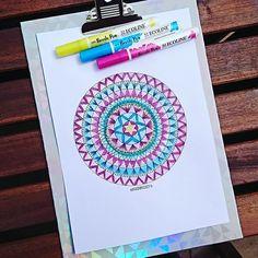 My latest mandala design. I colored it with Ecoline brushpens.