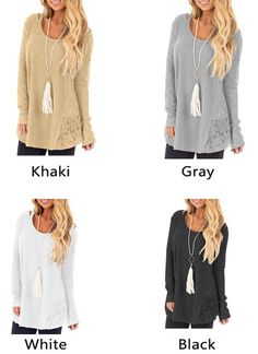 Cheap Fashion Hollow Lace Splice Round Neck Long Sleeve Women's Sweater For Big Sale! Cute Sweaters, Winter Sweaters, Black Sweaters, Loose Sweater, Grey Sweater, Pullover Mode, Folk Fashion, Cardigan Fashion, Cardigans For Women
