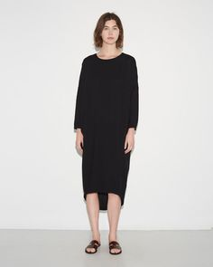 Black Crane | Pleated Cocoon Dress | La Garçonne
