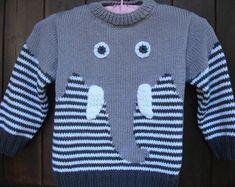 pull enfant motif éléphant en coton tricoté main
