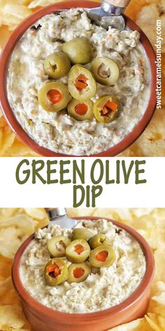 Easy cream cheese green olive dip is the perfect appetizer! Serve with chips or crackers. This simple recipe has great taste and texture! #oliverecipes #diprecipes @sweetcaramelsunday
