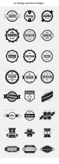 24 Vintage And Retro Badges