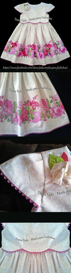 Vestido floral clássico, bege e rosa, com pala em ondas e manga - 3 anos - - - - - baby - infant - toddler - kids - clothes for girls - - - https://www.facebook.com/dona.fada.moda.para.fadinhas/