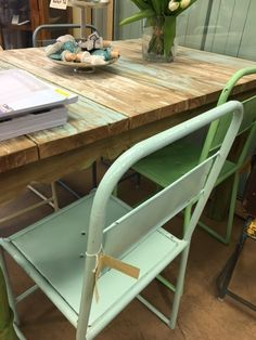 old chair and recycled teak table