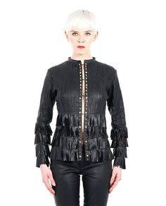 Leather jacket with fringes and studs FW 15/16