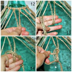 Cameo Cottage Designs: Knotted Jute Net Demijohns or Bottles DIY Tutorial So good to know how to add the twine netting myself. Mesh Wreath Tutorial, Tutorial Diy, Beach Crafts, Diy And Crafts, Arts And Crafts, Decor Crafts, Jute Crafts, Glass Bottle Crafts, Bottle Art