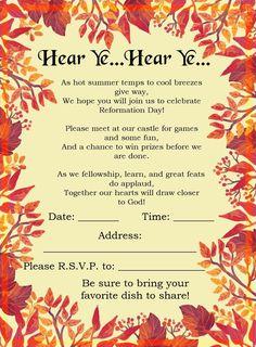 Reformation Day Invitation