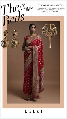 Scarlet red banarasi saree in georgette with weaved buttis. Border and pallu adorned with weaved floral pattern along with gotta patches, zardozi and green thread work. Teamed with a matching unstitched blouse in georgette. The length of the blouse is 0.87 meters. Banarasi Sarees, Thread Work, Red Fabric, Saree Wedding, Scarlet, Festive, Patches, Sequins, Sari