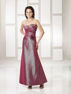 Taffeta Strapless Soft Sweetheart Neckline Pleated Bodice Ankle-length Wedding Party Dress