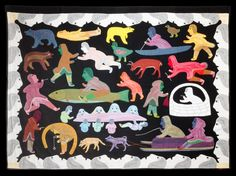 Kiviuq Legends fabric appliqué by Victoria Mamnguqsualuk, Inuit artist (LN80901)