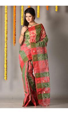 a91a65e1dd8 Red - Pesta Green - Dhakai Saree - Colors Of Bengal - adi3794 |  Adimohinimohankanjilal