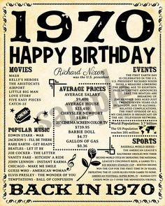 1970 Fun Facts 1970 Birthday Poster for Husband Gift for 50th Birthday Presents, 50th Birthday Party Ideas For Men, 50th Birthday Party Decorations, Moms 50th Birthday, 50th Birthday Quotes, Birthday Gifts For Husband, 50th Party, Gifts For Dad, 50th Birthday Themes