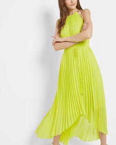 Dipped hem pleated dress - Lime | Dresses | Ted Baker