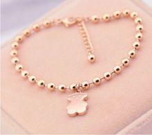 Moda oro rosa Tousingly pulseras perlas de la joyería del oso brazaletes de acero de titanio para para Pulsera Bijoux envío gratis(China (Mainland))