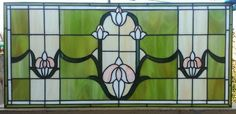 "Custom Made Stained Glass Transom - ""Tulips Chain Ii"" (Tw-45)"