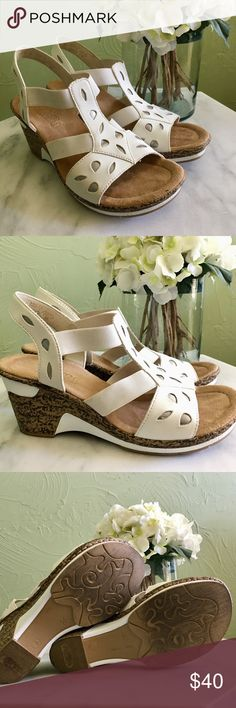 Rieker white wedge sandals, worn once, like new These are the perfect sandals because they're effortlessly chic, while being comfortable to wear and walk around in. They will look great in your Spring and Summer wardrobe paired with some cute cropped pants or a flowy dress. These shoes are from Europe and say size 38 on the sole, but I'm a 6.5 US and you can see how they fit me in the last photo. Any questions, please ask.   🚫I don't do trades 💵 Reasonable offers are considered Rieker…