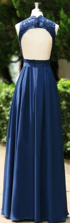 V Neck Sleeveless A-Line Floor-length Lace Backless Formal Dress,