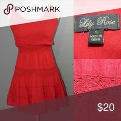 LILY ROSE Tank dress Reddish Orange Reddish Orange Tank Dress great for festivals and concerts add a jean jacket and boots or booties or even wedges for a put together casual look Lily Rose Dresses