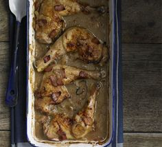 Chicken braised with cider & bacon