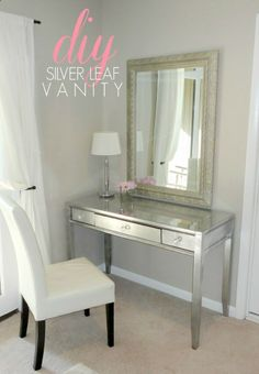 DIY Thrift Store Desk Makeover (Using Silver Leaf!) .