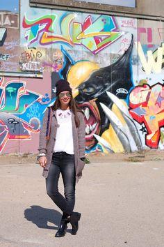 Fashionista Chloe Sterk - YAYA black denim and monty knit cardigan FW'13