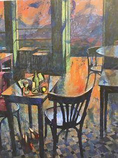 Pavlos Samios, Cafe Athens Athens, Painting, Art, Art Background, Painting Art, Kunst, Paintings, Performing Arts, Painted Canvas