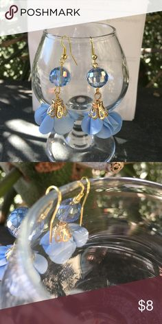 Baby Blue Drop Earrings New!  So pretty. Baby blue crystal floral drop earrings & gold accents. Jewelry Earrings