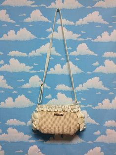 Bow Straw Shoulder Bag with Frills in Ivory from Liz Lisa - Lolita Desu