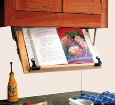 Wooden Under Cabinet Cookbook Holder [folds back for space saving when not in use] Sale Price: $79.95