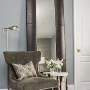 Busy Young Family's Command Central ~ Adding a floor mirror and accent chair to the corner of your bedroom can give you the feel of a luxurious dressing room without the extra square footage! Design, Furnishings & Accessories available through Endless Ideas Interiors #EndlessIdeas