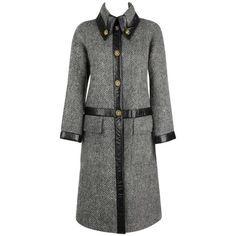 BONNIE CASHIN Sills 1960s Gray Wool Mohair Black Leather Trim Gold Turnlock Coat | From a collection of rare vintage coats and outerwear at https://www.1stdibs.com/fashion/clothing/coats-outerwear/
