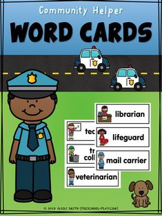 These FREE printable Community Helper Vocabulary Cards are a fabulous way to enhance your print-rich environment; they're just waiting to be displayed on your word walls and in your writing centers! Just print, laminate (for heavy use), and cut. Community Helpers Pictures, Community Helpers Activities, Community Helpers Kindergarten, Kindergarten Social Studies, Preschool Word Walls, Preschool Writing, Preschool Activities, Word Wall Kindergarten, Kindergarten Units