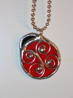Ladybug Necklace in Stained Glass & Wire by glassden on Etsy, $12.50